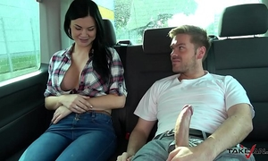 Ryan ryder convince youthful innocet enjoyable jasmine jae to fuck in driving van