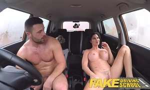 Fake driving school favourable youthful guy tempted by his breasty milf examiner