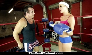 Therealworkout - lustful brunette hair screwed in the gym
