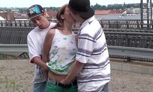 Young marvelous Married slut public group sex
