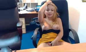 Natural beauty of emmafantasy21 on webcam. office role game scene. natural scoops.