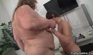 Big abdomen bbw sucks and rides his juvenile jock