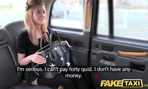 Fake taxi miniature blond in pull up nylons