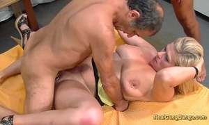 Busty extraordinary pierced milf receives biggest group-fucked