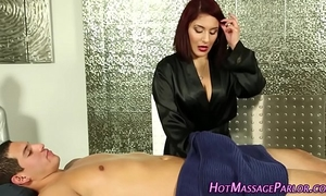 Spermy face hole sexy masseuse