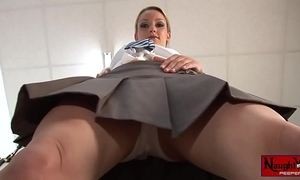 Horny school Married slut masturbates upskirt white panty tease