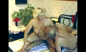 Hairy granny enjoys 3some