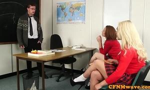 Schoolgirl cfnm jerking off teachers schlong