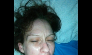 Jacking off and cumming in my wife's face hole
