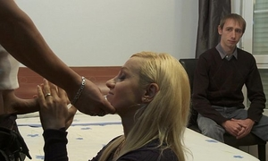 Cuckold watching how her doxy horny white wife is being screwed