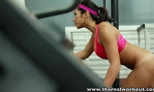 Therealworkout breasty oriental gym honey constricted cunt drilled