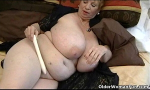 Fat granny dagny with her large marangos plays with fake penis