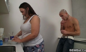 Fat hottie and her chap play with ice-cream and fuck