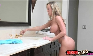 Teen wench lia lor and breasty milf brandi love screwed on turns