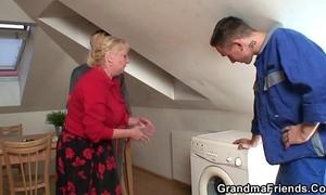 Lonely grandma widens legs for 2 repairmen