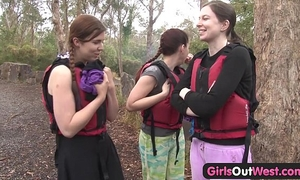 Hairy dilettante BBC slut fingered in rafting trio