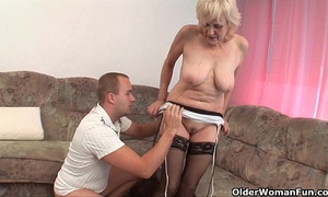 Grandma in nylons receives a facial