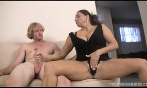 Teen and milf double tugjob