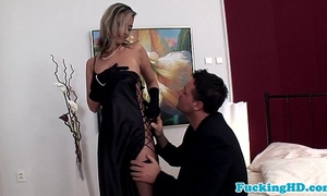 Glamour euro honey takes penis in all holes