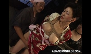 Bound japanese milf moans during the time that her cum-hole is teased
