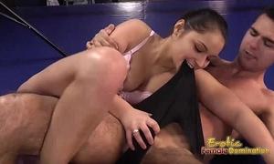 Lana the brunette hair boxer dominates her guy in the ring