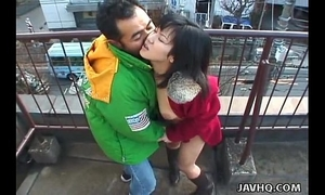Lovely japanese playgirl sucks a hard schlong outdoors