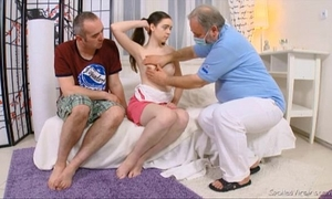 Julia's virgin cum-hole checked by doctor and carefully deflowered