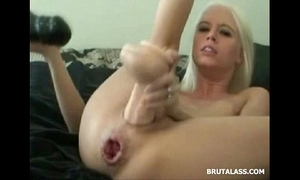 Blonde destroys her cookie and a-hole with big dildos