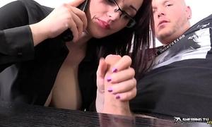 Horny breasty secretary engulfing her boss' knob