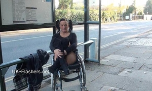 Paraprincess outdoor exhibitionism and flashing wheelchair tied sweetheart showing