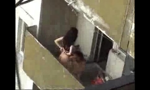 Spy episode of next door cheating Married slut fucking on the balcony