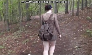 Fucked and cum discharged his girlfriend in the forest