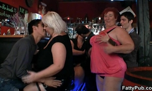 Three fatty join immodest sex party