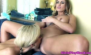 Glamcore lesbian babes go down on every other
