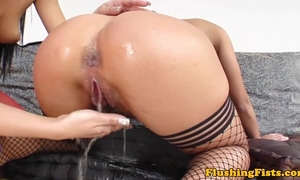 Fist screwed glamour blond squirts