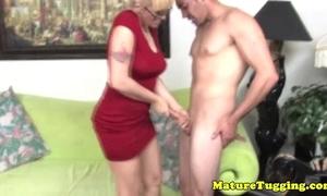 Blonde spex older tugging hard dick