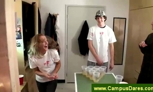 Drinking game as foreplay at a dorm