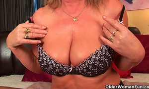Horny grandma with large melons finger bonks her old vagina