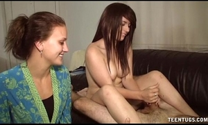 Naked legal age teenager demonstrates her tugjob skills