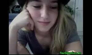Hot blond legal age teenager masturbating on cam