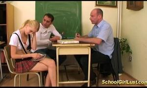 Horny nasty schoolgirl in wild three-some