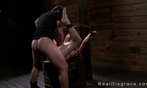 Chained and gagged redhead velma dearmond drilled
