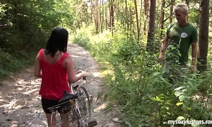 Busty biker playgirl terry receives nailed in woods