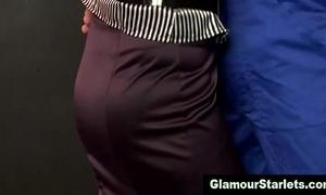 Sexy glam euro chick sucks on jock