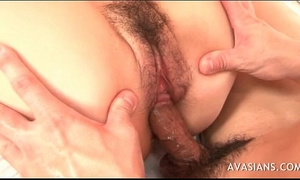 Hairy oriental acquires creampied in her snatch