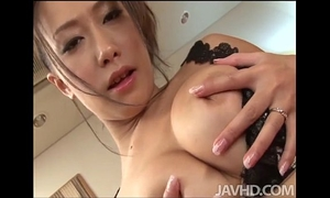 Yayoi yanagida in a lacey brassiere plays with her large scones for her fuck buddy driving