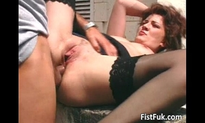 Brunette aged bitch drilled on terrace