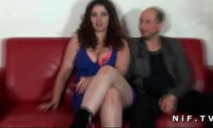 Chubby french non-professional brunette hair hard drilled in front of her cuckhold spouse