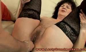 Mature granny in nylons toy happy
