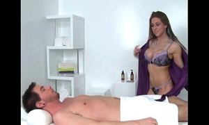Nipple pierced large titted masseuse blows client